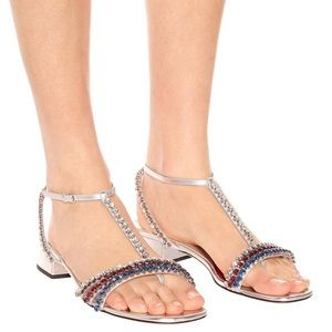 Gucci Crystal Leather Sandals
